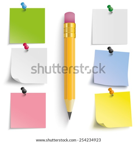 Infographic with colored stickers and thumbtacks and pencil on the white background. Eps 10 vector file. - stock vector