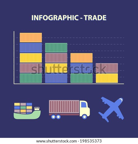 infographic with graph of decline trade and transport icons in flat design - stock vector