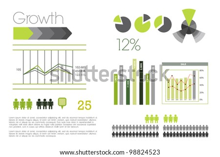 Infographic with green and gray elements - stock vector