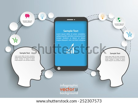 Infographic with 2 heads and smartphone on the gray background. Eps 10 vector file. - stock vector