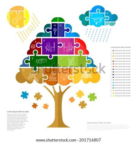 infographic with puzzle tree sun and cloud - stock vector