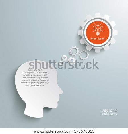 Infographic with white a head on the grey background. Eps 10 vector file. - stock vector