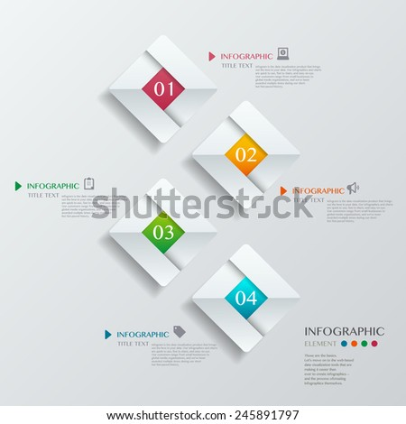 Infographic with white diamond on the grey background. Eps 10 vector file - stock vector