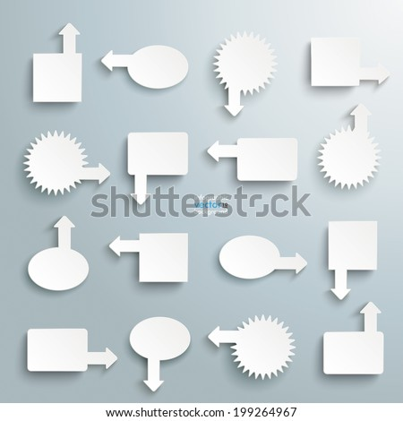 Infographic with white information markers  on the grey background.  Eps 10 vector file. - stock vector
