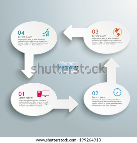 Infographic with white ovals on the grey background.  Eps 10 vector file. - stock vector
