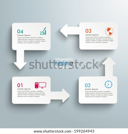 Infographic with white rectangles on the grey background.  Eps 10 vector file. - stock vector