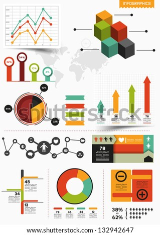 Infographics. A collection of graphs and charts. - stock vector