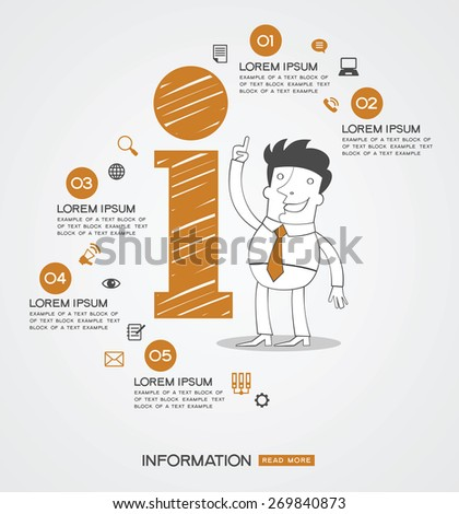 Infographics background.  Man surrounded by icon of information, business icons, text. - stock vector