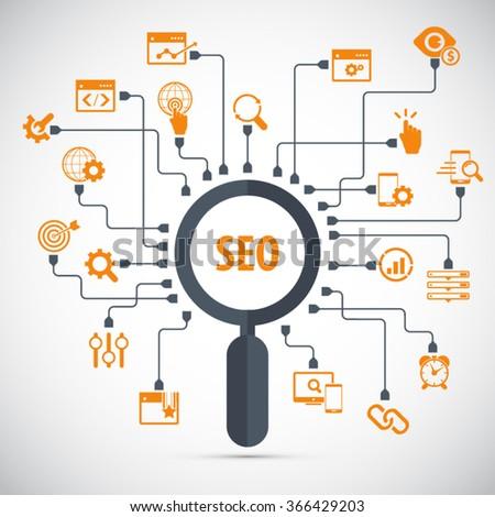 Infographics background seo optimization. SEO concept. Set icons - stock vector