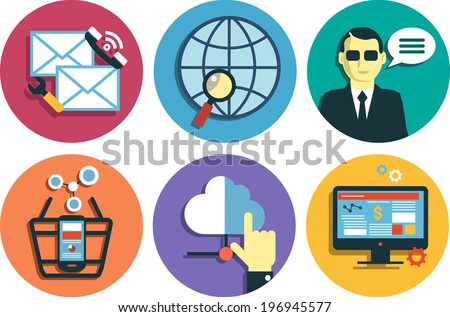 Infographics background social media network. Concept Internet comunications. Set icons - stock vector