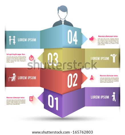 Infographics bar number options vector design template. Modern business step origami style options banner can be used for workflow layout, diagram, number options, step up options, web template.  - stock vector