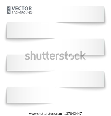 infographics blank paper stripe banners with shadows on white background. RGB EPS 10 vector illustration - stock vector