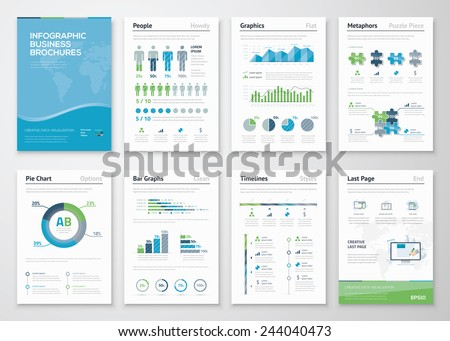 Infographics brochure elements for business data visualization. Vector illustration of modern info graphic metaphor in a flyer concept, that can be used for marketing, website, print, presentation etc - stock vector