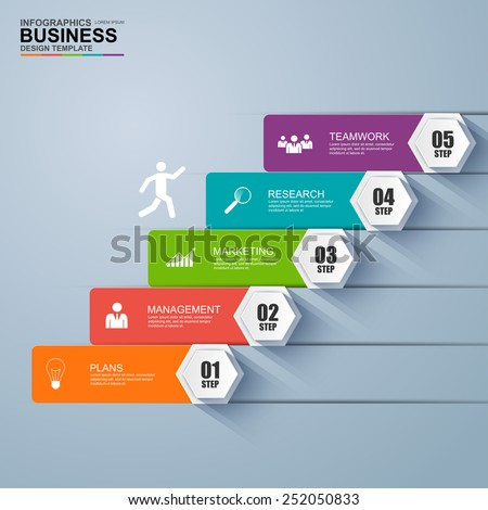 Infographics business stair step success vector design template - stock vector
