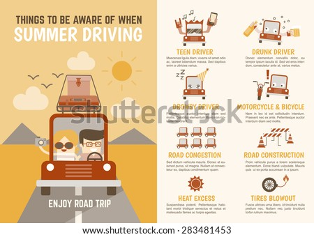 infographics cartoon character about things to be aware of when summer driving - stock vector
