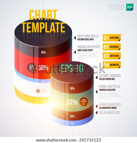 Infographics chart template with 3d cylinders. EPS10 - stock vector