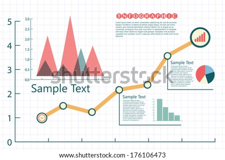 infographics charts in retro blue - stock vector