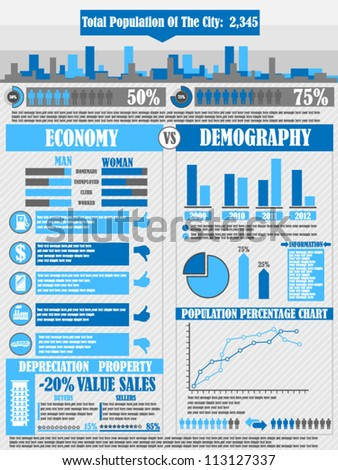 INFOGRAPHICS CITY BLUE - stock vector