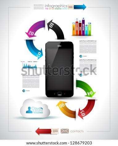Infographics Desgin template with high tech smartphone with touch screen and a lot of paper tags - stock vector