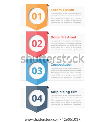Infographics design elements with place for numbers (steps or options) and text, vector eps10 illustration - stock vector