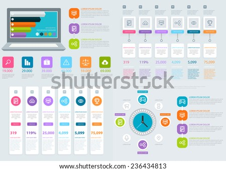 Infographics Design. Flat UI vector design template. Eps 10. - stock vector