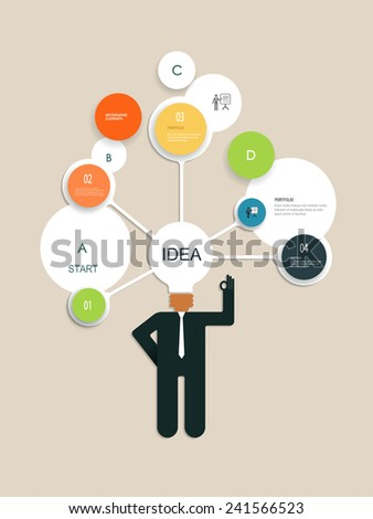 Infographics design template with Businessman thinks of a new creative idea concept - stock vector