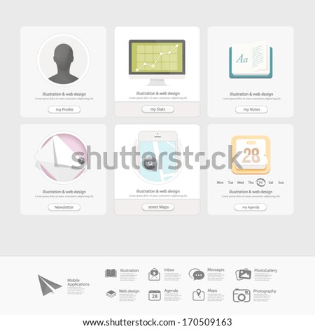 Infographics design UI Elements: Collection of colorful flat kit UI navigation elements with icons for personal portfolio website templates - stock vector