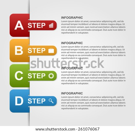 Infographics design with colored paper bookmarks. - stock vector