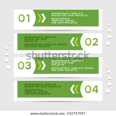 Infographics design with green numbered banners - stock vector