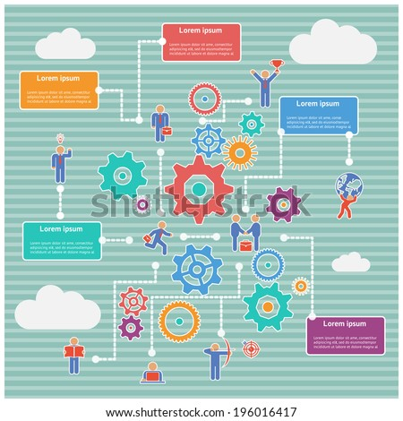 infographics diagram of business process with gears and humans - stock vector