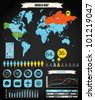 Infographics. Earth map and different charts - stock vector