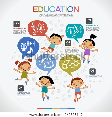 Infographics education background. Cartoon children with speech bubble surrounded by icons of education, text and numbers. - stock vector
