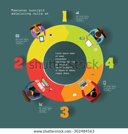 Infographics Element -  Top View on Arrows with People. Vector illustration. - stock vector