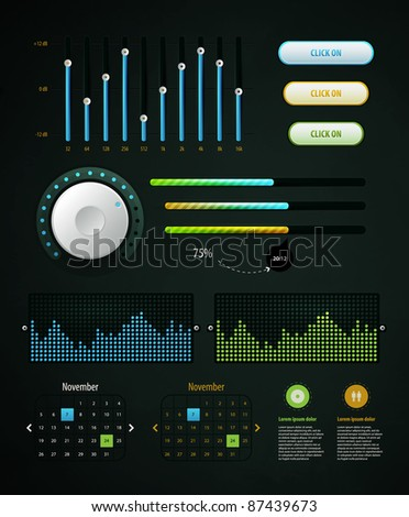infographics elements and EQ - stock vector