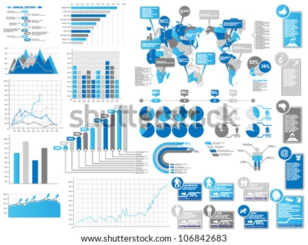 INFOGRAPHICS ELEMENTS 3 BLUE - stock vector