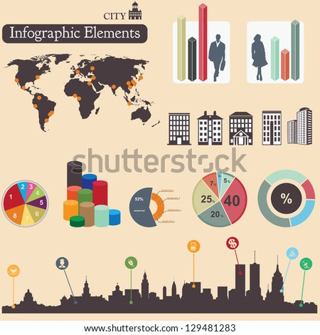 Infographics elements. City symbols. For you design - stock vector