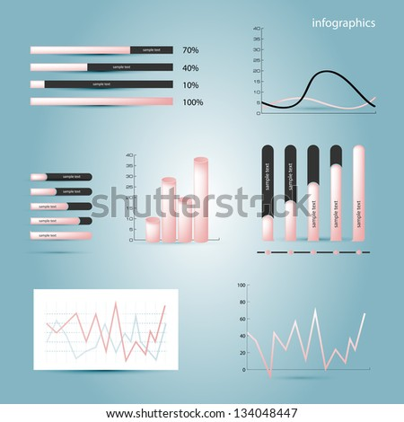Infographics elements. Diagrams in pink colour. Vector illustration. Eps 10. - stock vector