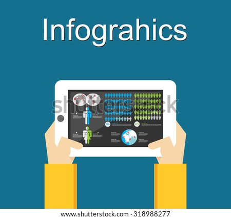 Infographics elements on mobile phone concept illustration. - stock vector
