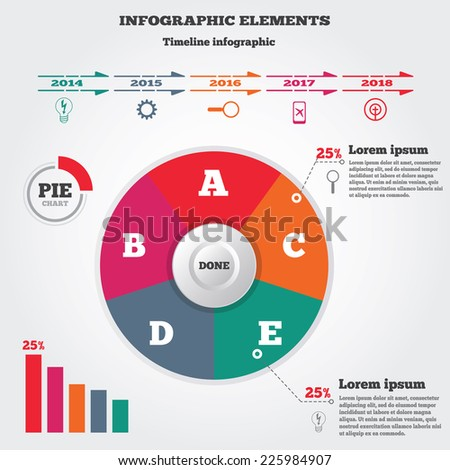 Infographics elements. Pie chart and timeline diagram with icons. Modern colored circle flat graph with five options. Vector illustration. EPS10 - stock vector