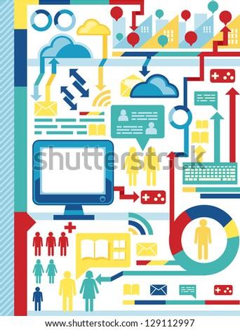 infographics elements/social network - stock vector