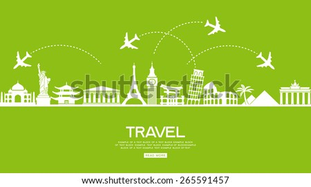 Infographics elements: Travel and Famous Landmarks. Travel concept with stylish icons - stock vector
