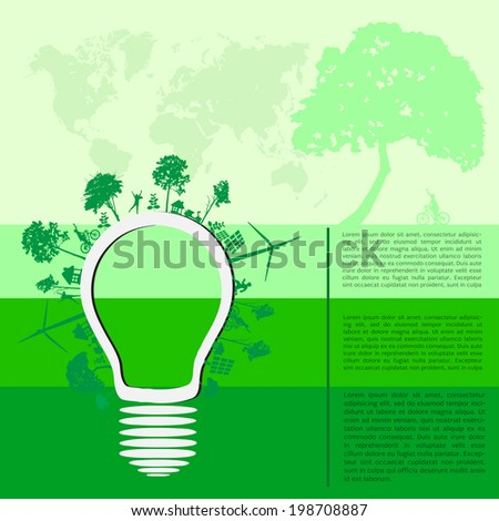 infographics Green modern city living concept - stock vector