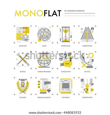 Infographics icons collection of business concepts, solution finding, market strategy tactics. Modern thin line icons set. Premium quality vector illustration concept Flat design web graphics elements - stock vector