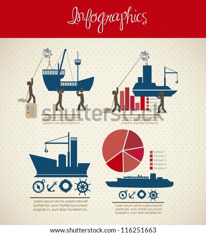 infographics illustration of transportation icons with icons of people, vector illustration - stock vector