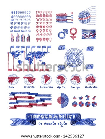 Infographics in doodle style. Vector hand drawn design elements - stock vector