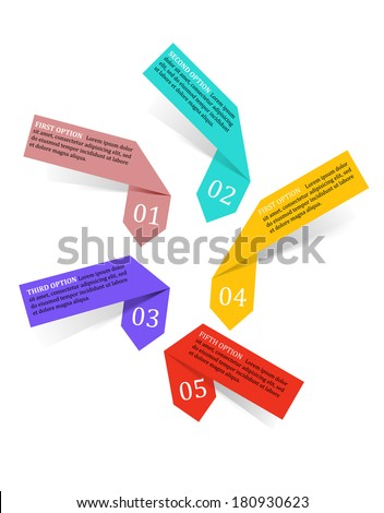 Infographics labels and banners elements set in origami style for website or interface design - stock vector