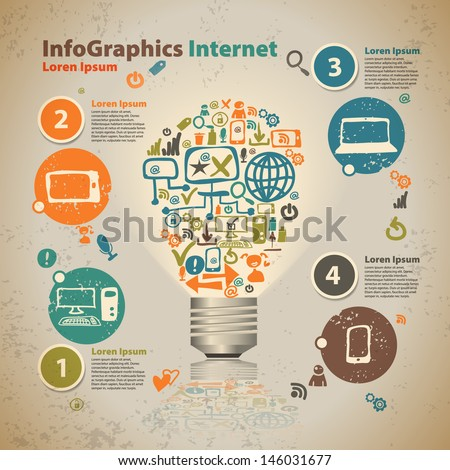 Infographics light bulb with cloud of application icon - stock vector
