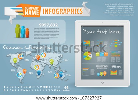 Infographics master collection: graphs, histograms, arrows, chart, 3D map, icons and a lot of related design elements. Easy to edit country - stock vector