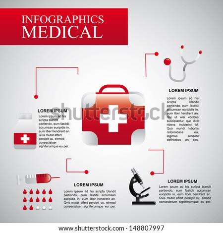 infographics medical  over gray background vector illustration   - stock vector