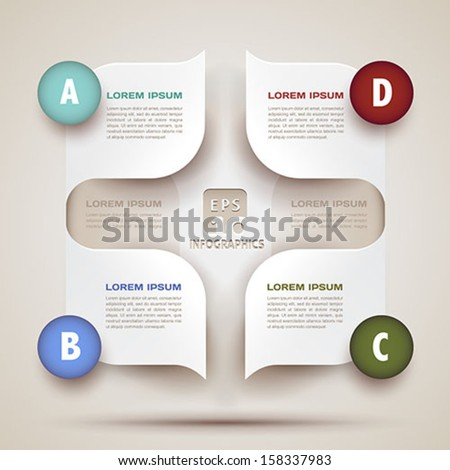 infographics modern business background - 3d paper shapes origami - bubble speech -vector illustration for presentation, brochure cover, workflow layout, diagram, web design - stock vector